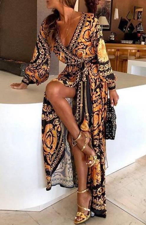 Vestido Longo Estampado Manga Comprida