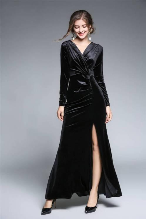 Vestido Longo Manga Comprida Veludo