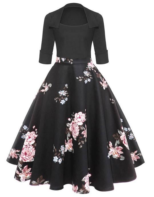 Vestido Pin Up Saia Floral Manga 3/4
