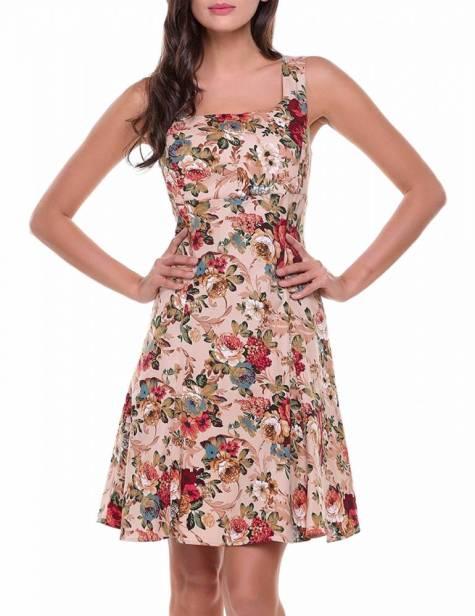 Vestido Pin Up Floral Decote Costas