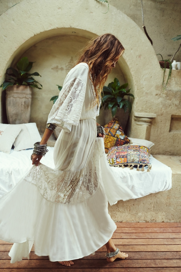 Vestido Longo Boho Saída de Praia Branco
