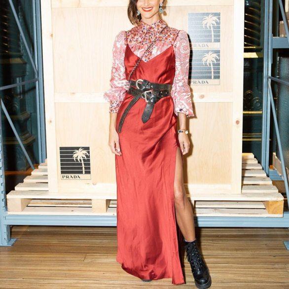 Vestido Longo de Cetim sobreposição 2019