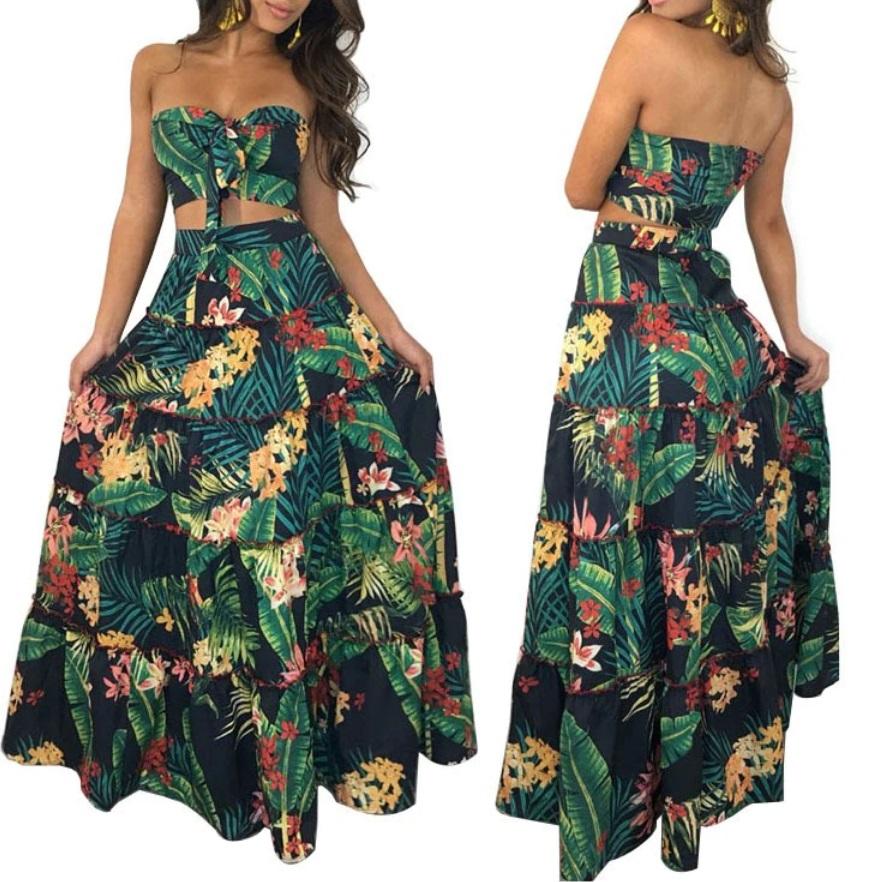 Conjunto Cropped e Saia Longa Estampado Verde Floral