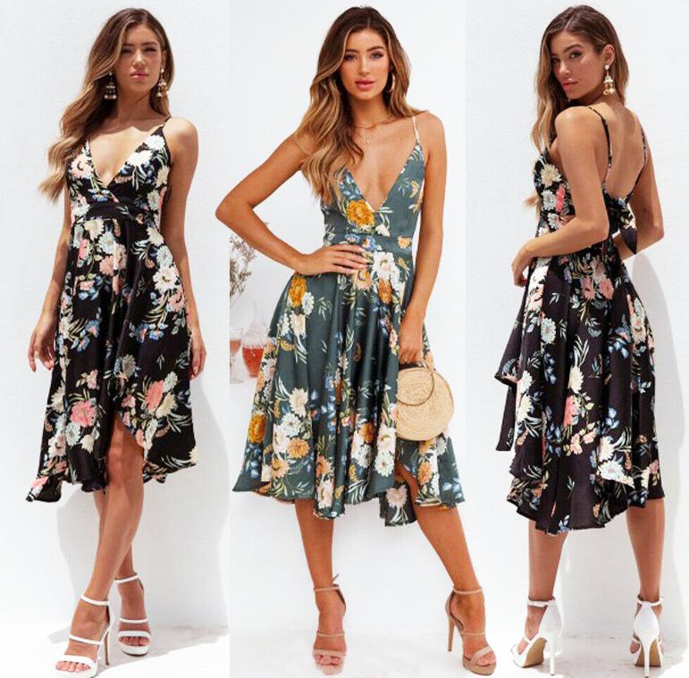 Vestido Floral Midi Decote V Alcinha verão 2020