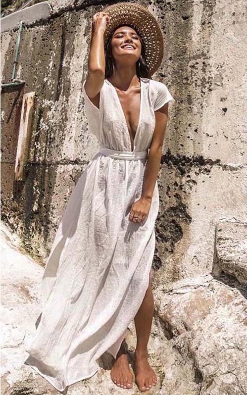Vestido Longo Saída de Praia Branca Decote V