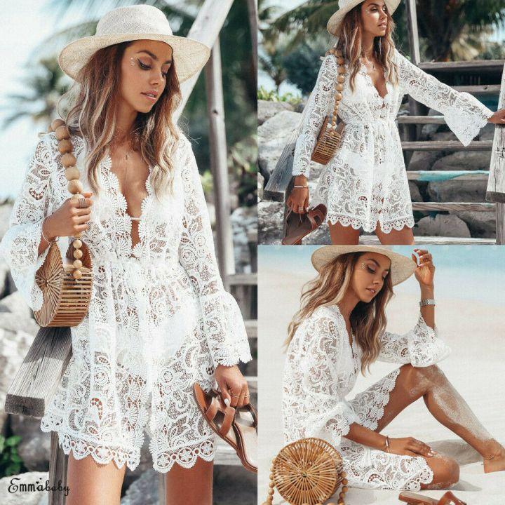 Vestido de renda saída de praia branco