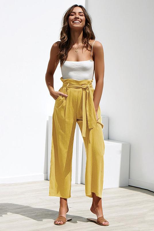 Calça Pantalona Clochard Amarela Mostarda
