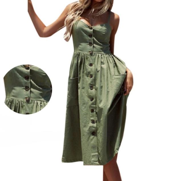 Vestido Midi alcinha verde militar